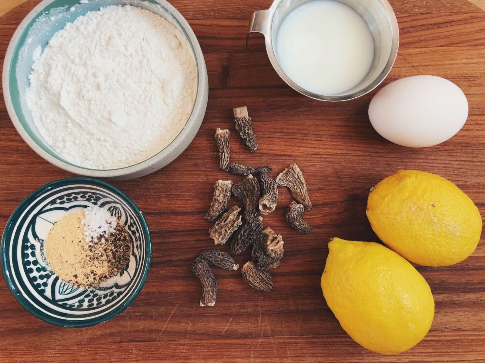 friturestegte morkler med citron ingredienser