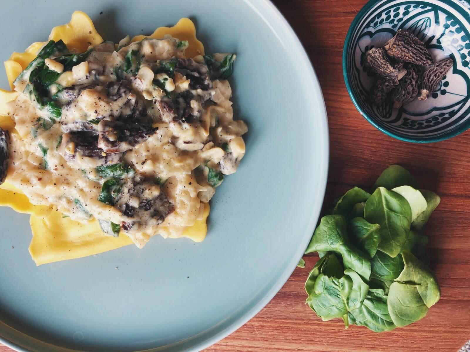 ravioli med morkel sauce ingredienser