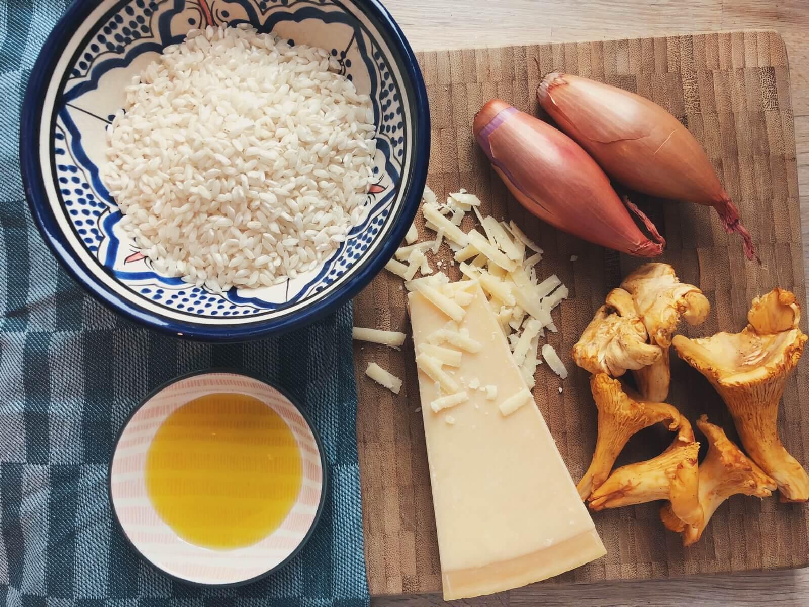 Risotto med kantarel og parmesan ingredienser